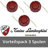Tonino Lamborghini Fadenspulen Ersatzspulen (D) 3er-Set 13001776-L passend für Rasentrimmer RT 6050 & RT 6070