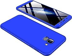 Shinyzone 3 in 1 Stoßfest Hülle für Samsung Galaxy A6 Plus 2018,360 Grad Ganzkörper Schutzhülle,Ultra Dünn Leicht Hybrid Hart PC Schale Kratzfest Handyhülle für Samsung Galaxy A6 Plus 2018,Blau
