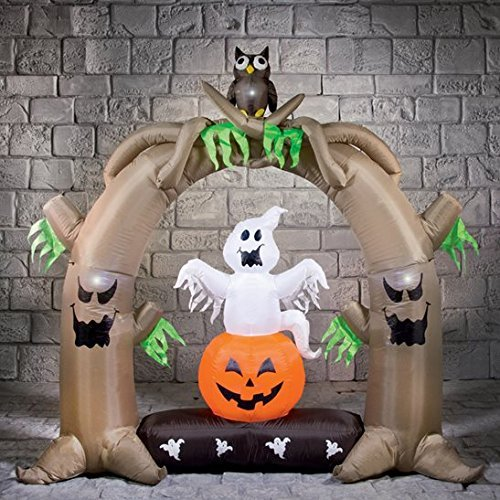 (2m Inflatable Halloween Arch with Spooky Owls Display by Halloween Horror Shop)