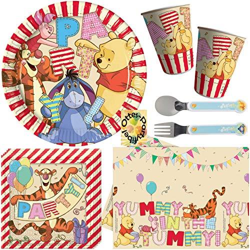 HHO Winnie Pooh-Party-Set 39tlg. Teller Becher Servietten Tischdecke für 8 Kinder + Besteck für das Geburtstagskind