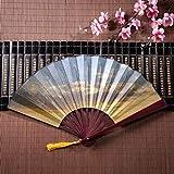 Ventaglio a mano Pecore di bambù in un prato sull'erba verde con cornice in bambù Ciondolo con nappa e sacchetto di stoffa Ventagli di carta cinesi Ventaglio pieghevole cinese Ventaglio manuale