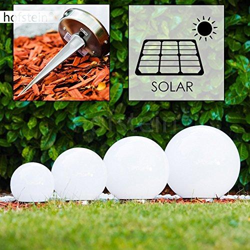 Solar Kugelleuchten Nassau Set 15/20/25/30 cm aus weißem Kunststoff, LED Aussenleuchte mit Ein- und Ausschalter Solarlampe mit Dämmerungsschalter