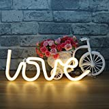 LED Love Neon Light Sign - Christmas Night Lights Warm White Signs Neon Lights Wall Decor Battery and USB Power Indoor Lighting Bedside and Table Lamps Home Decoration for Living Room, Bedroom, Party, Christmas Wedding Birthday Gift