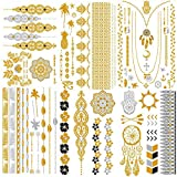 Temporäre Tattoos, KALLOE 75 + Premium-Metallic Klebe Gold und Silber Mandala Mehndi Boho Designs wasserdicht Aufkleber Flash Schmuck Tattoos für Frauen Teens Mädchen