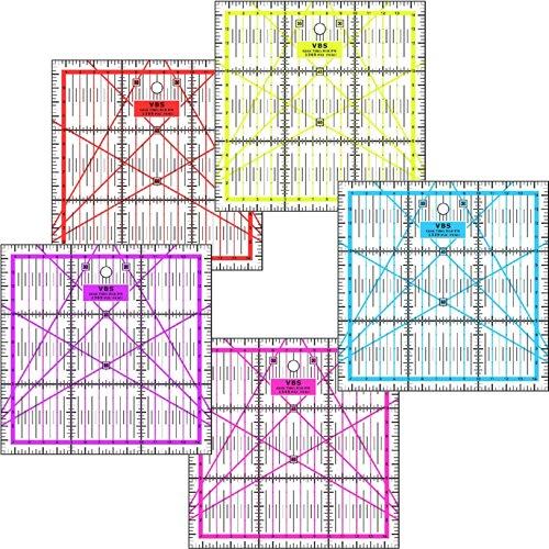 Patchwork Lineal Zentimeterraster 15 cm x 15 cm Pink, Lila, Rot, Blau, Gelb (Gelb)