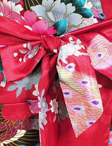 Surenow Weibliche Damen Muster Exotische Pfau Satin Blumen Schlafanzug Nachthemd Bademantel Sleepwear Rot