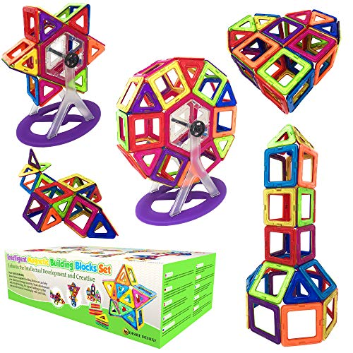 Desire Deluxe Children's Magnetic Building Blocks - 94 Creative Educational Game Geometric Shape Pieces with Magnets to Stimulate the Ideal Imagination as a Gift for Boys and Girls