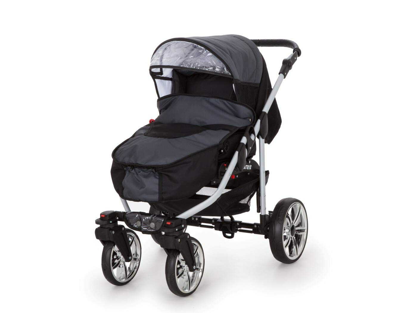 Travel System Stroller Pram Pushchair 2in1 3in1 Set Isofix X-Car by SaintBaby Black & Check 3in1 with Baby seat SaintBaby 3in1 or 2in1 Selectable. At 3in1 you will also receive the car seat (baby seat). Of course you get the baby tub (classic pram) as well as the buggy attachment (sports seat) no matter if 2in1 or 3in1. The car naturally complies with the EU safety standard EN1888. During production and before shipment, each wagon is carefully inspected so that you can be sure you have one of the best wagons. Saintbaby stands for all-in-one carefree packages, so you will also receive a diaper bag in the same colour as the car as well as rain and insect protection free of charge. With all the colours of this pram you will find the pram of your dreams. 4