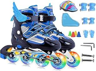 DSFGHE Rollschuhe Inline Skates Kinder Vollen Satz 3-12 Jahre Alt Anfänger Mädchen Jungen Kinder Einstellbar Inline-Skates Für Männer und Frauen Flash-Rad Rollerblades
