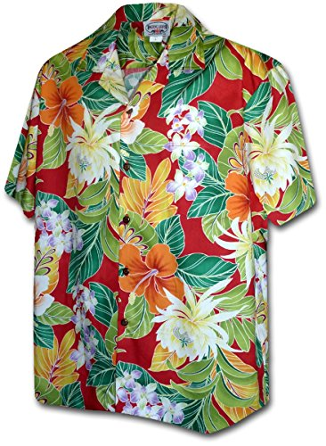 PLA Original Hawaiihemd, New Flower, rot, S (New Shirt Herren Baumwolle Hawaiian)
