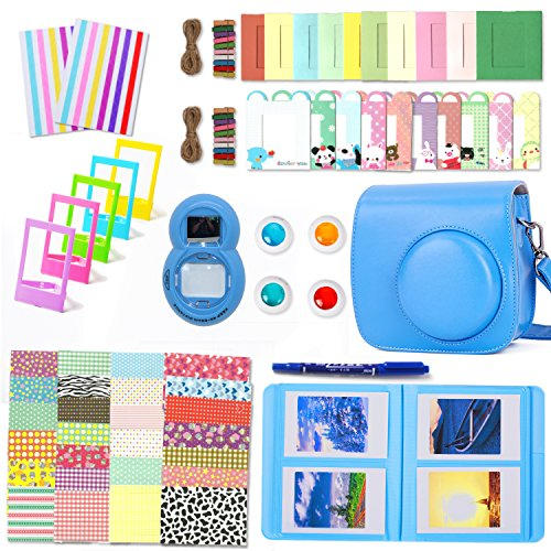 Fujifilm Instax Mini 9 Zubehör, Leebotree 10 in 1 Kamerapaket beinhaltet Kameratasche/Album/Selfielinse/Farbige Filter/Wandfotorahmen/Filmrahmen/Rahmenaufkleber/Eckaufkleber/Markierstift (Cobalt Blau)