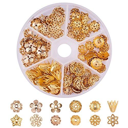 PandaHall Elite & reg 144pcs Messing Blumen Bead Caps, Golden, 8x2cm