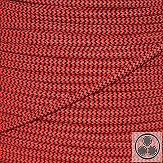 Textilkabel Stoffkabel Neon Rot / Schwarz Zick Zack, 3-adrig