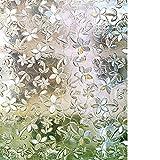 Rabbitgoo Vinilos para Ventanas Vinilos Translúcidos para Ventanas Láminas para Ventanas Electrostáticos 3D No Pegamento Patrón de Flores Vinilos Decorativos para Cocina Muebles de Cristal 90cm*200cm