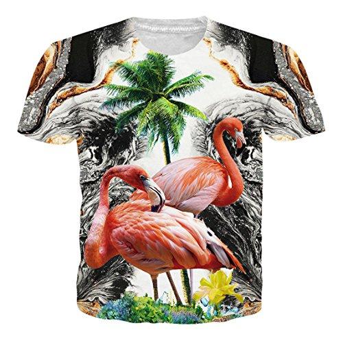 NEWISTAR Unisex 3D Druck Hawaiian Shirt T-Shirt Tees Tops mit Rundhalsausschnitt S-XXL Flamingo2