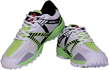 Gray Nicolls GN-7 Velocity Rubber Cricket Shoes, Men's Size 6 (White/Green)
