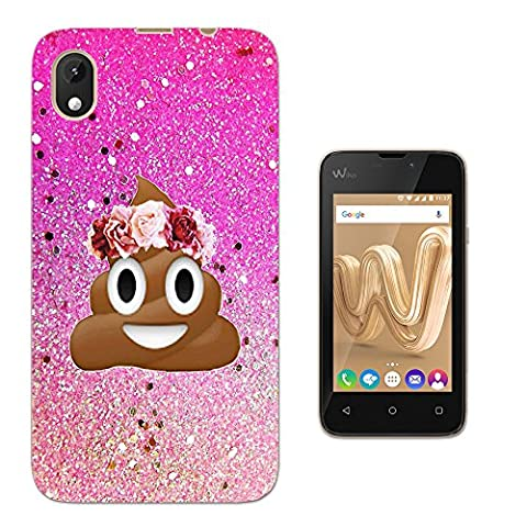 002414 - Emoji Smiley Face Floral Poo Princess Design WIKO Sunny MAX (2017) Fashion Trend Protecteur Coque Gel Rubber Silicone protection Case