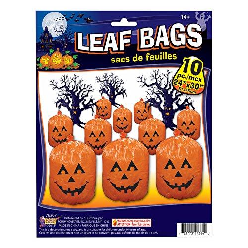Forum Novelties Kürbis Jack O Laterne Halloween 61x 76,2cm Leaf Taschen, Orange Schwarz, 10Stück (Dekorieren Halloween Taschen)