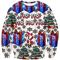 uideazone Unisex 3D Impreso Feo Navidad Jersey Sudaderas Navidad Camiseta (Christmas Gifts, XL)