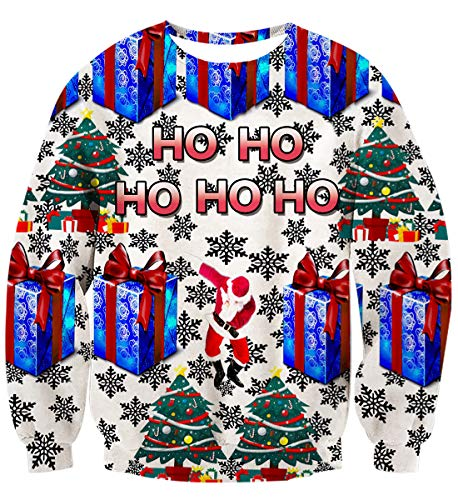 (Idgreatim Damen Hässliche Weihnachten Pullover Weihnachtsmann Crewneck Sweatshirts Mode Grafik Weihnachten Elf Langarm Pullover L)