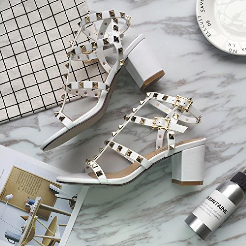SHOESHAOGE Con Una Palabra Xiaci Goteando Toe Heels Roman Sandalias Tacón Grueso De 7Cm De Zapatos De Mujer Eu33 -