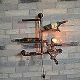 GAOWORD Vintage Iron Pipe Wall Lamp Personality Wine Rack Bar Restaurant Wall Decoration Handmade Creative Light Fixture