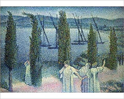 Photographic Print of Coastal View with Cypress Trees, 1896