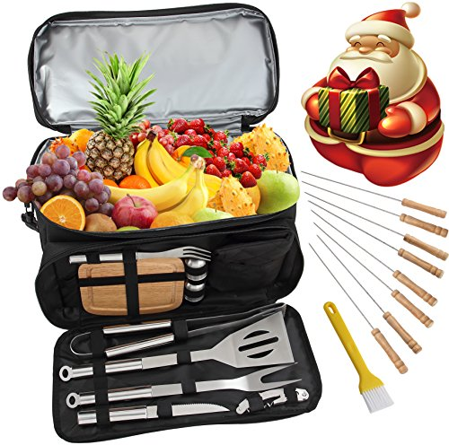 ROMANTICIST BBQ Grill-Zubehör-Werkzeug-Set mit 15 können isoliert Kühltasche - 21Pcs Edelstahl Camping Grill-Tools für Outdoor-Touren Tailgating - Geschenk-Kit für Männer