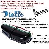 Sattel für Vespa 50 125 ET3, Primavera 125, 50 Special, 50 Elestar, 50R, 50L, 50N Vintage Nera Dieffe P0040FTN mit Hebel und dreifarbigem Band