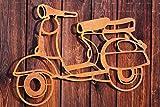Dekostüberl Edelrost Wandbild Roller Gartendekoration Fahrzeuge 60x50cm Metall
