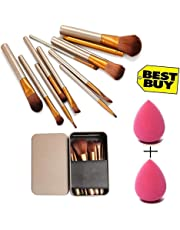 Kylie Makeup Brush Set of 12 with storage box with 2 sponge puff (color may vary)