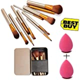 KYLIE Set of 12 Makeup Brush with storage box and 2 sponge puff (Color may vary)
