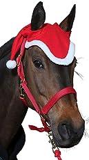 Amesbichler Pferde Weihnachtsmütze Ohrenhaube rot/weiß Weihnachten-Nikolaus Pferdekopfkappe