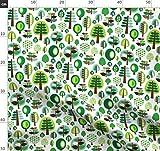 Baum, Natur, Grün, Retro, Apfel Stoffe - Individuell