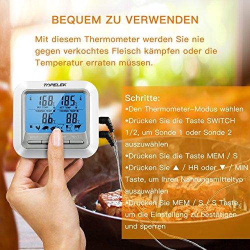 6126sreJcwL - Fleischthermometer TOPELEK Bratenthermometer Grillthermometer 2 Sonden Haushaltsthermometer Temperatur Voreinstellung, Countdown Timer, Instant Read-Out, Magnetische Montagedesign für Küche, Grill