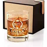 1971 50th Birthday Gifts for Men, Vintage Whiskey Glass 50 Birthday Gifts for Dad, Son, Husband, Brother, Funny 50th Birthday