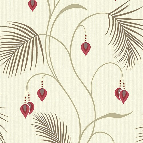 New luxury holden moriko leaf trail embossed glitter jewel wallpaper red cream 75480
