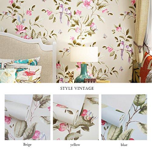 KINLO 0.53*10M 3D Vliestapete Tapete mit Blumen Mustertapete Euro-Stil Wand Tapete als Schlafzimmer, Wohnzimmer TV Hintergrund Fernsehhintergrund, Sofahintergrund, Hotel Dekoration (Gelb als Hintergrund)