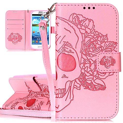 Hülle für Samsung Galaxy S3, Tasche für Samsung Galaxy S3 Neo, Case Cover für Samsung Galaxy S III Neo, ISAKEN Blume Schmetterling Muster Folio PU Leder Flip Cover Brieftasche Geldbörse Wallet Case Le Skull Blumen Pink