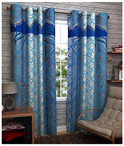Kanha 4 Piece Polyester Abstract Window Curtain - 5ft, Blue