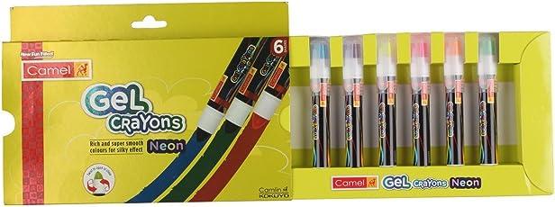 Camlin Kokuyo Neon Gel Crayon Set - 6 Shades (Multicolor)