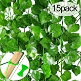 MELLIEX 15 Stück Efeu Künstlich, Künstlicher Efeugirlande 30 Meters 900 Efeu Blätter Lange Hängend Grüne kunstpflanze für Hochzeit Party Garten Wanddekoration