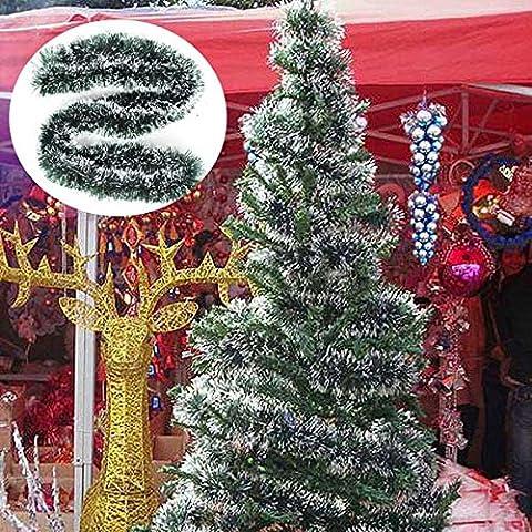 2m Weihnachten Rattan Anhänger Green White Grass Xmas Tree Decoration