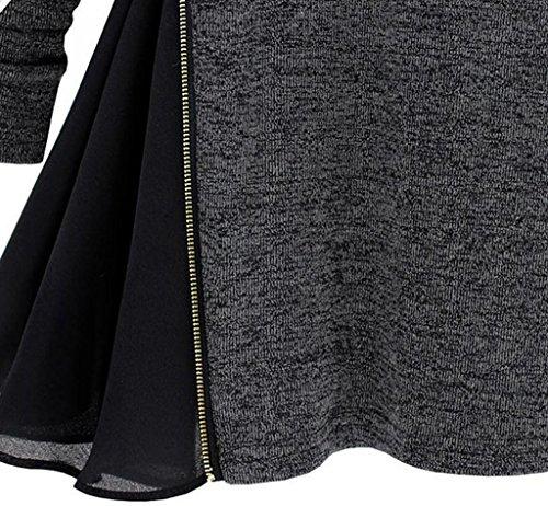 ADS da donna Fashion laterali con cerniera design Asia maglia Pullover Camicetta a maniche lunghe Grey