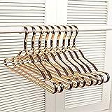 Miyare 10 Stück Hochwertig Metallic Aluminium Kleiderbügel rutschfeste nahtloser Kleiderbügel für Jacken/Anzug/Shirts/Jacke, Hose/Set Kleiderbügel(Gold)