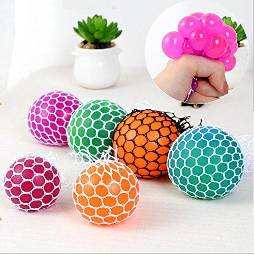 Preisvergleich Produktbild Neuheit Mesh Squishy Ball für Anti Stress Squeeze Traube Ball Relieve Druck Ball Spielzeug mit zufälliger Farbe - 1 PCS (Zufällige Kristallfarbe)