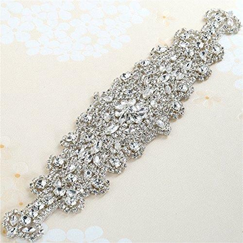Handgefertigte Perlen Hochzeitskleid Gürtel Rhinestone Hotfix Applikationen für Bridal Sashes...