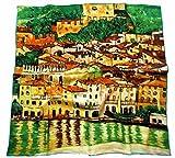 Avenella bezauberndes SEIDENTUCH Seidenschal nach Gustav Klimt Malcesine am Gardasee Schal Tuch 100% Seide Kunstdruck Jugendstil Malerei ca. 85x85 cm