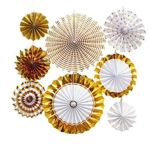TOOGOO 8 Teile / Satz Papier Fan Blume Europaeischen Stil Party Dekoration Spezielle Taufe Fuer Hochzeit Dekoration & Garten Dekoration Gold