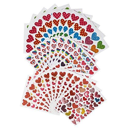Etiquetas engomadas del corazón del día de tarjeta del día de San Valentín de LJY con 3 diversos diseños, 30 hojas